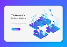 Isometric Flat vector Teamwork People Puzzle parts. Isometric Flat vector Teamwork Business People on Puzzle parts. Finance Management Concept illustration Royalty Free Stock Image