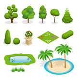 Isometric flat vector trees elements for landscape design. Diversity of trees set on white. Trees, shrubs, flowers Royalty Free Stock Images