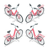 Isometric flat womens bicycle. Stylish womens pink bicycle isolated on white background. Vector bicycle illustration. Royalty Free Stock Photography