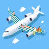 Isometric flight to summer vector concept with relaxing people, luggage and travel manager stock illustration