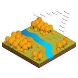 Isometric flock of migrating birds in autumn. Autumn concept Stock Photo