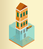 Isometric flooded building and gondola in Venice Stock Photo
