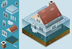 Isometric flooded house. With isolated object Royalty Free Stock Photo