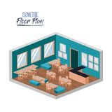 Isometric floor plan of school canteen in colorful silhouette. Vector illustration Stock Photography