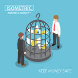 Isometric flying dollar trapped in bird cage. Keeping money safe, saving money, financial concept, VECTOR, EPS10 stock illustration