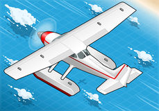Isometric Flying Seaplane in Rear View Stock Photo