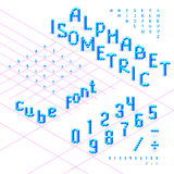 Isometric font, alphabet, abc  from blue cubes. Can be used in different 3d directions. Uppercase and lowercase characters, numbers. Under each symbol is part Royalty Free Stock Images