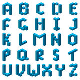 Isometric font, alphabet. Blue abstract isometric font. Alphabet. Vector illustration vector illustration