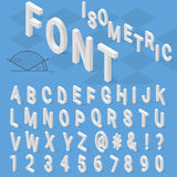 Isometric font alphabet with drop shadow on blue Royalty Free Stock Photo