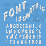 Isometric font alphabet with drop shadow on blue Royalty Free Stock Photography