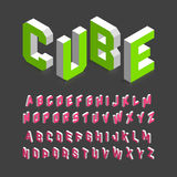 Isometric font. Isometric 3d font, three-dimensional alphabet letters vector illustration