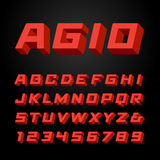 Isometric font. Vector alphabet. Royalty Free Stock Image