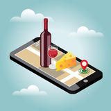 Isometric food delivering. Looking for bar or dinner. Mobile searching. Bar or wine shop. Geo tracking. Map. Flat 3d vector isometric illustration. Concept Stock Image