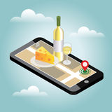 Isometric food delivering. Looking for bar or dinner. Mobile searching. Bar or wine shop. Geo tracking. Map. Flat 3d vector isometric illustration. Concept Stock Photo