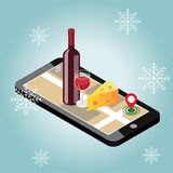 Isometric food delivering. Looking for bar or dinner in winter. Mobile searching. Bar or wine shop. Geo tracking. Map. Flat 3d vector isometric illustration Stock Images