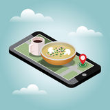 Isometric food delivering. Searching of dinner. Mobile searching. Coffee and soup. Geo tracking. Map. Flat 3d  isometric illustration. Concept picture Stock Photos