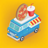 Isometric Food Truck with Pizza and Soda Stock Photo