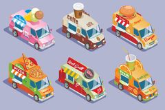 Isometric Food Trucks Collection. For sale and delivery of ice cream coffee burgers pizza grill juices isolated vector illustration Stock Photos