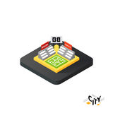 Isometric football field icon, building city infographic element, vector illustration. Isometric football field flat icon  on white background, building city Royalty Free Stock Photo