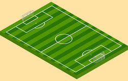 Isometric football green grass field with goalposts Stock Images