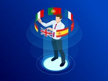 Isometric foreign language online dictionaries, multilingual audio guide, web translation, online translation agency. Language selection, interpretation vector illustration