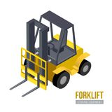 Isometric forklift Διανυσματικός εξοπλισμός αποθήκευσης Μηχανή αποθηκών εμπορευμάτων στοκ φωτογραφίες με δικαίωμα ελεύθερης χρήσης