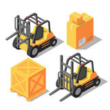 Isometric forklift and storage boxes Royalty Free Stock Photography