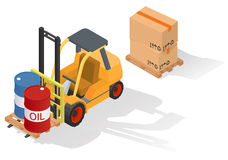 Isometric forklift truck with barrel on wooden pallet. Stock Photos