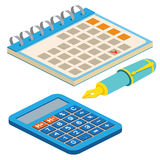 Isometric fountain pen, calendar and calculator on white backgro Stock Photos