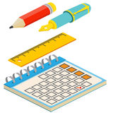 Isometric fountain pen,pencil, calendar and ruler on white backg Royalty Free Stock Photography