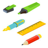 Isometric fountain pen, pencil, ruler and marker on white backgr. Ound. For web design and application interface, also useful for infographics.Vector Stock Photo