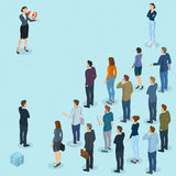 Isometric fpeople with loudspeaker. Isometric front and back view people with loudspeaker. Megaphone alert promotion. Various characters, professions and poses Stock Photos