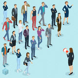 Isometric fpeople with loudspeaker. Isometric front and back view people with loudspeaker. Megaphone alert promotion. Various characters, professions and poses Stock Images