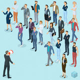 Isometric fpeople with loudspeaker. Isometric front and back view people with loudspeaker. Megaphone alert promotion. Various characters, professions and poses Royalty Free Stock Image