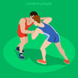 Isometric freestyle wrestling fight sports Flat 3d. Isometric freestyle wrestling fight sports concept. Flat 3d isometry web site conceptual vector illustration Royalty Free Stock Images