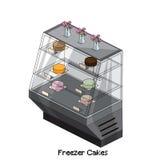 Isometric freezer cakes. Object kitchen Stock Image