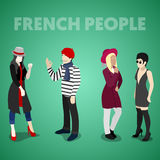 Isometric French People in Traditional Clothes Stock Images