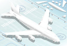 Isometric Frozen Airplane in  Front View Stock Photos