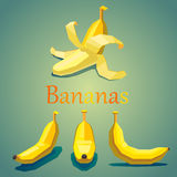 Isometric fruit bananas Royalty Free Stock Photo