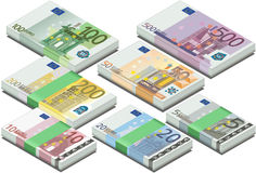 Isometric full set of euro banknotes Royalty Free Stock Photography