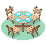 Isometric furniture - dinner table with cutlery and four chairs Royalty Free Stock Images
