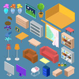 Isometric Furniture. Isometric Living Room Planning. Isometric Interior Objects. Vector illustration Royalty Free Stock Images