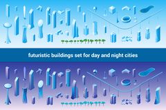 Isometric futuristic buildings set