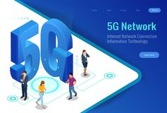 Isometric 5G network wireless systems and internet vector illustration. Communication network, Business concept. Isometric 5G network wireless systems and Royalty Free Stock Image