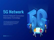 Isometric 5G network wireless systems and internet vector illustration. Communication network, Business concept. Isometric 5G network wireless systems and Stock Images