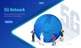 Isometric 5G network wireless systems and internet vector illustration. Communication network, Business concept. Isometric 5G network wireless systems and Stock Image