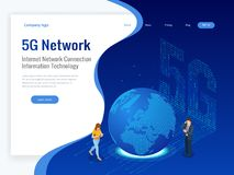 Isometric 5G network wireless systems and internet vector illustration. Communication network, Business concept. Isometric 5G network wireless systems and Royalty Free Stock Images