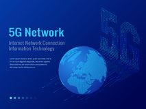 Isometric 5G network wireless systems and internet vector illustration. Communication network, Business concept. Isometric 5G network wireless systems and Stock Photography