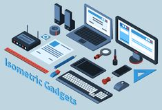 Isometric Gadgets Set Royalty Free Stock Photography