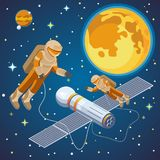 Isometric Galaxy Discovery Background. With astronauts in outer space spaceships planets stars vector illustration Stock Photos
